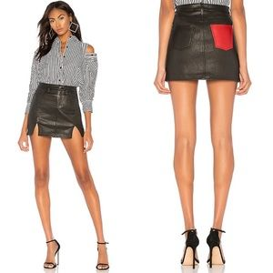 Current/Elliott Lamb Leather Mini Skirt in Black